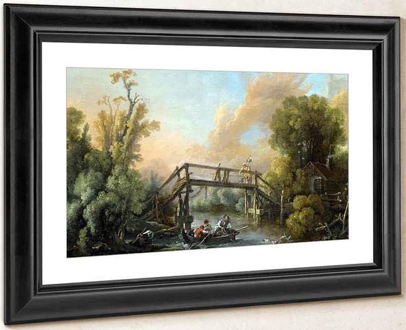 A River Lanscape With A Woman Crossing A Bridge By Francois Boucher