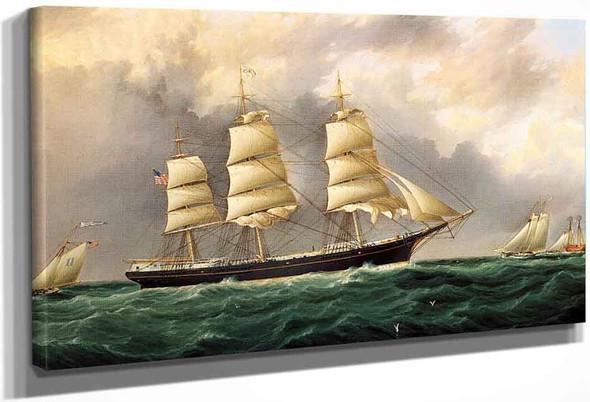 A Ships Portrait Near Sandy Hook By James E. Buttersworth