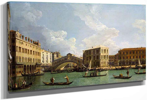 A View Of The Rialto, Venice By Canaletto By Canaletto