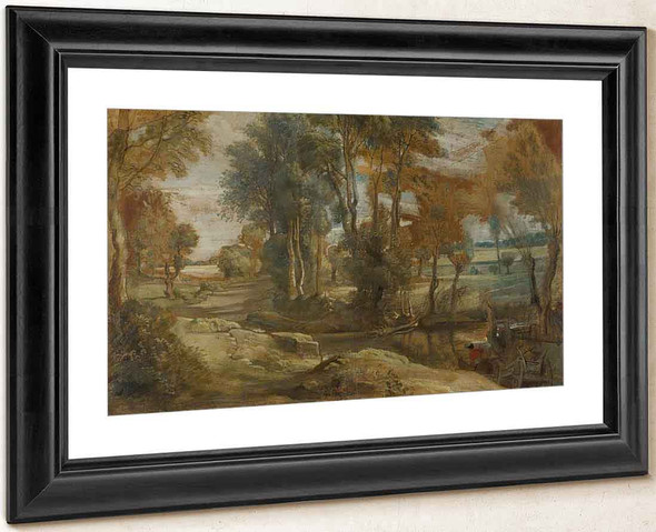 A Wagon Fording A Stream By Peter Paul Rubens