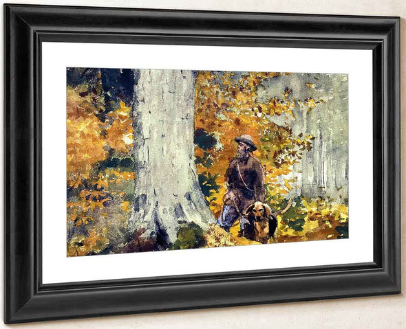 Adirondack Woods, Guide And Dog By Winslow Homer