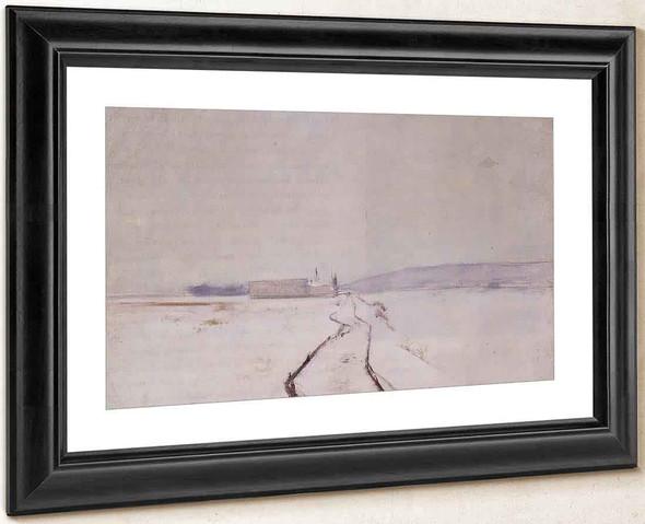 Along The River Winter By John Twachtman