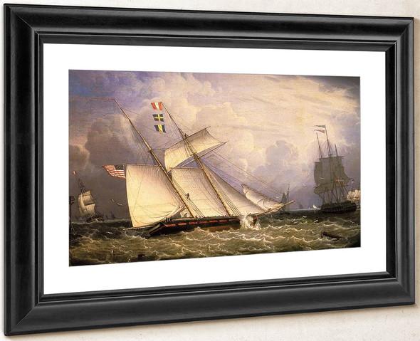 American Schooner Under Sail With Heavy Seas By Robert Salmon