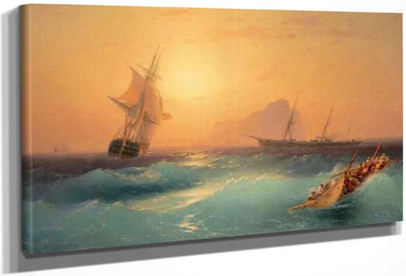 American Shipping Off The Rock Of Gibraltar By Ivan Constantinovich Aivazovsky By Ivan Constantinovich Aivazovsky