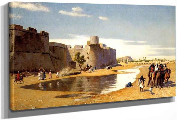 An Arab Caravan Outside A Fortified Town, Egypt By Jean Leon Gerome
