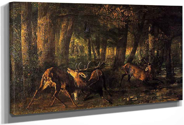 Battle Of The Stags By Gustave Courbet