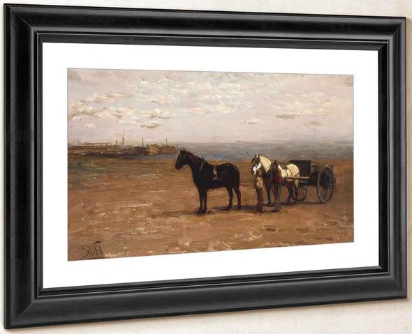 Beach Scene With Horses By William Morris Hunt