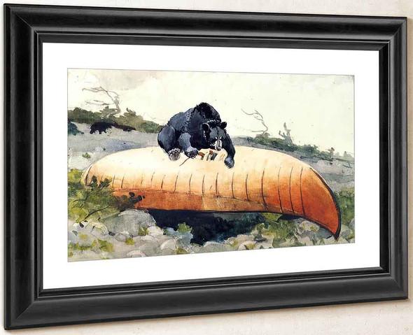 Bear And Canoe By Winslow Homer