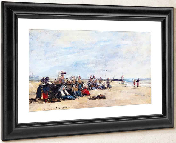 Berck, A Group Of Fisherwomen Seated On The Shore By Eugene Louis Boudin