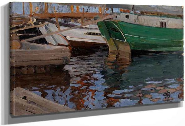 Boats In Arkhangelsk Port By Sergei Arsenevich Vinogradov Russian 1869 1938