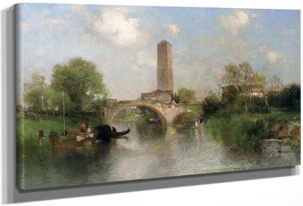 Bridge And Tower At Torcello By Thomas Moran