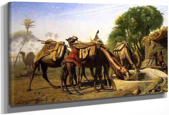 Camels At A Watering Trough By Jean Leon Gerome