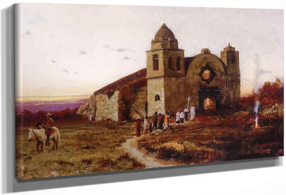 Carmel Mission On San Carlos Day By Jules Tavernier