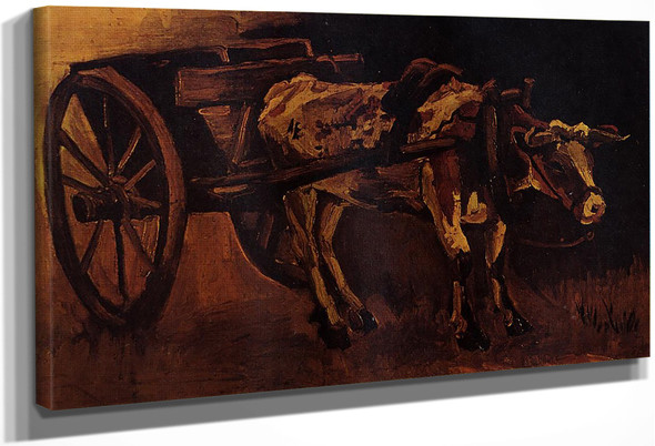 Cart With Red And White Ox By Vincent Van Gogh