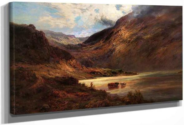 Cattle Watering In The Highlands By Alfred De Breanski, Sr.