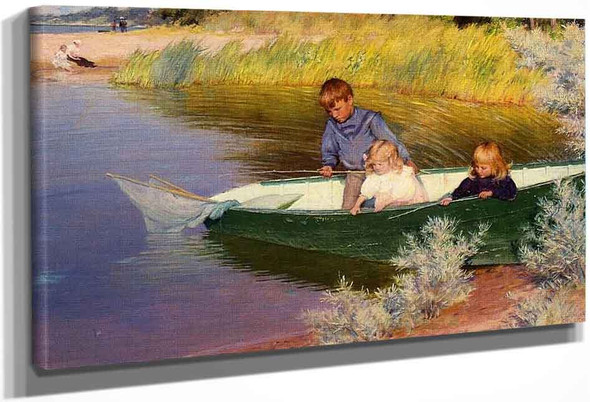 Children Fishing By Charles Courtney Curran By Charles Courtney Curran