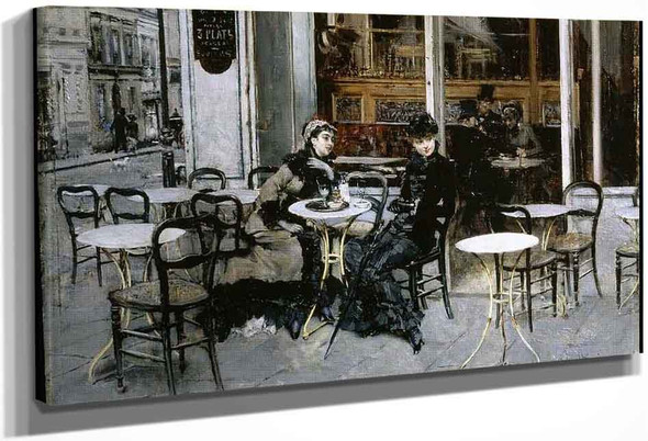 Conversation At The Cafe By Giovanni Boldini By Giovanni Boldini