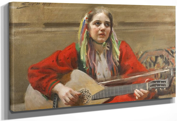 Daleswoman Playing At Utmeland By Anders Zorn