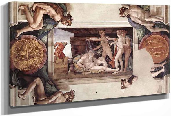 Drunkenness Of Noah By Michelangelo Buonarroti By Michelangelo Buonarroti