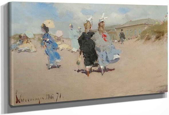 Elegant Ladies At The Scheveningen Beach By Frederik Henrdik Kaemmerer