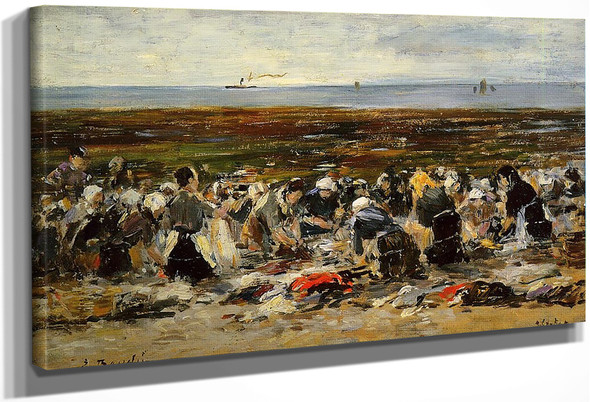 Etretat, Laundresses On The Beach, Low Tide By Eugene Louis Boudin