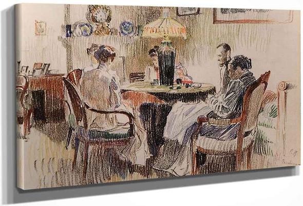 Evening Interior By Sergei Arsenevich Vinogradov Russian 1869 1938