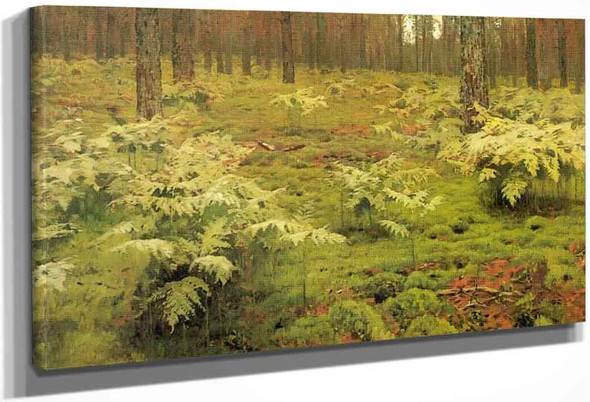Ferns In A Forest By Isaac Levitan