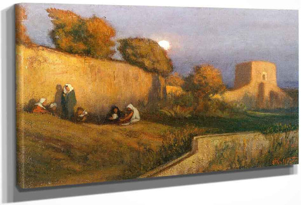 Figures By A Wall In Moonlight By Elihu Vedder