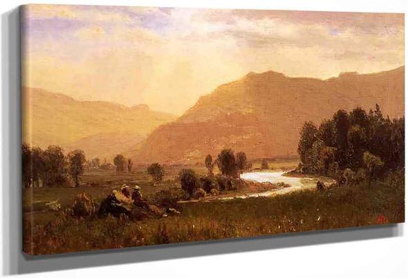 Figures In A Hudson River Landscape By Albert Bierstadt