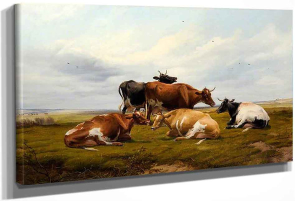 Five Cows In A Landscape By Thomas Sidney Cooper By Thomas Sidney Cooper