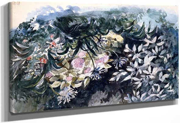 Flower Bed With Hydrangeas, Scillas And Anemones By Eugene Delacroix By Eugene Delacroix