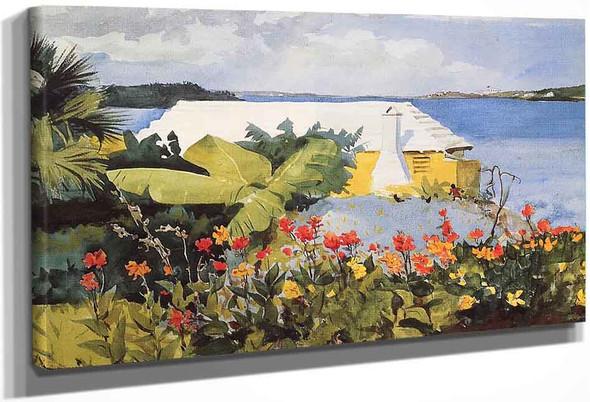 Flower Garden And Bungalow, Bermuda By Winslow Homer