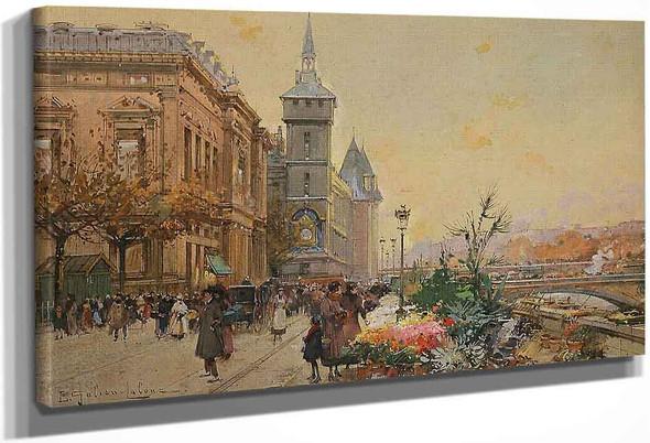 Flower Market In Paris By Eugene Galien Laloue
