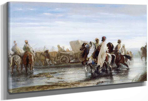 Fording A River By Alexandre Gabriel Decamps