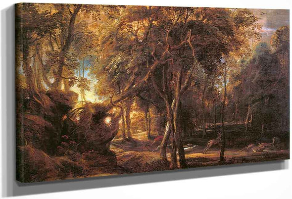 Forest Landscape At The Sunrise By Peter Paul Rubens