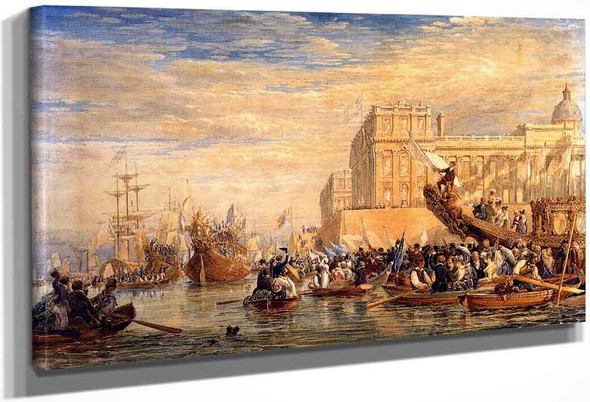 George Iv Embarking For Scotland At Greenwich By David Cox By David Cox