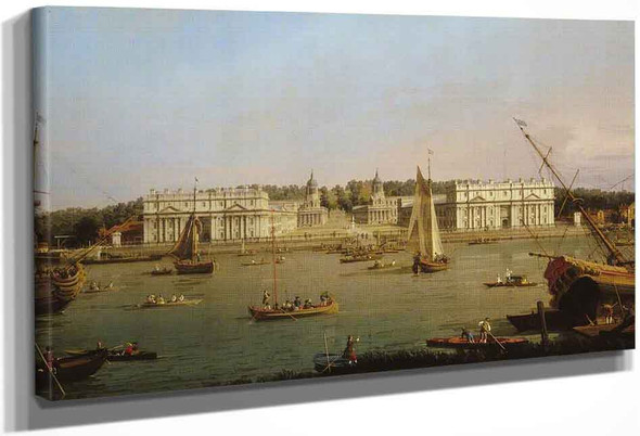 Greenwich Hospital From The North Bank Of The Thames By Canaletto By Canaletto