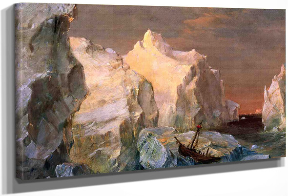 Icebergs And Wreck In Sunset By Frederic Edwin Church By Frederic Edwin Church