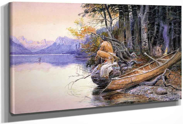Indian Camp Lake Mcdonald By Charles Marion Russell