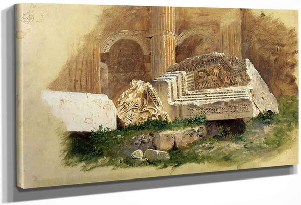 Interior Of The Temple Of Bacchus, Baalbek, Syria By Frederic Edwin Church By Frederic Edwin Church