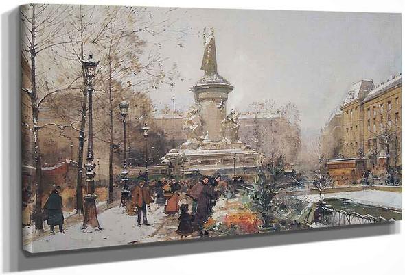 La Place De La Republique, Sous La Neige By Eugene Galien Laloue