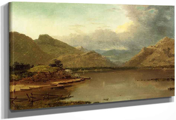 Lake With Boaters By John Frederick Kensett By John Frederick Kensett