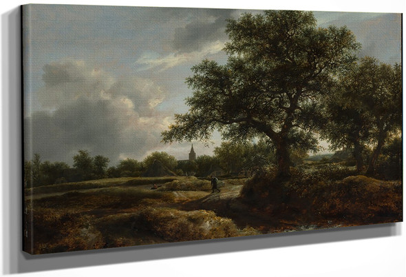 Landscape With A Village In The Distance By Jacob Van Ruisdael