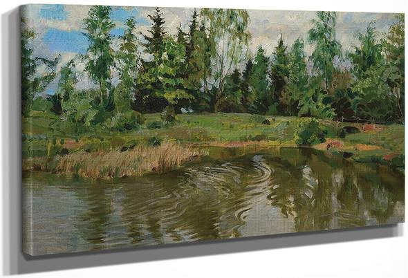 Little Bridge In The Forest By Sergei Arsenevich Vinogradov Russian 1869 1938