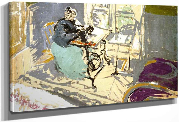 Madame Vuillard At Her Sewing Maching By Edouard Vuillard