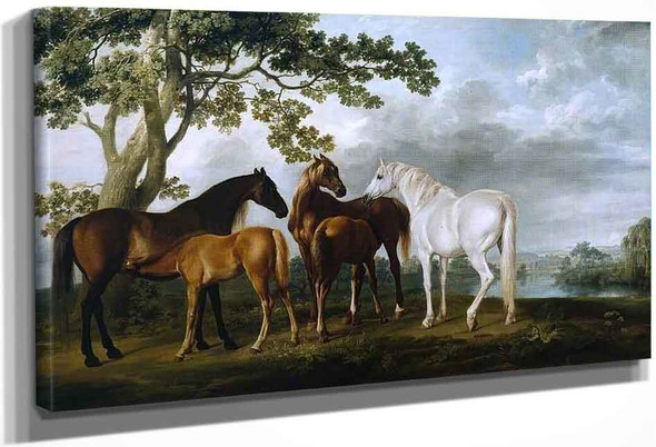 Mares And Foals In A River Landscape By George Stubbs