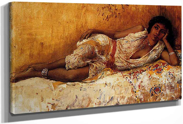 Moorish Girl Lying On A Couch, Rabat, Morocco By Edwin Lord Weeks