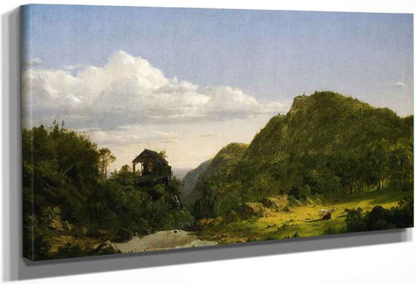 Mountain Landscape With Mill, Cows And Stream By Frederic Edwin Church By Frederic Edwin Church