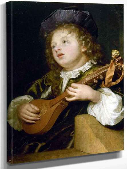 A Boy Playing A Lute By Godfried Schalcken