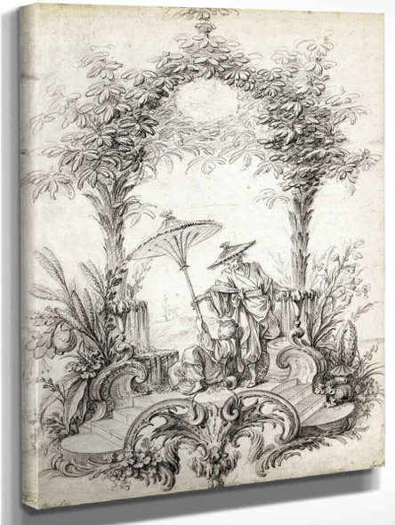 A Chinoiserie Composition, A Seated Girl Holding A Parasol And A Man In A Hat By Francois Boucher